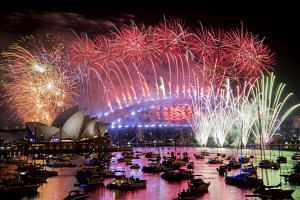 Fireworks explode over the Sydney Harbour during New Year's celebrations on Jan 1, 2019.