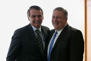 Pompeo attends a meeting with Brazil's President Jair Bolsonaro on Jan 2, 2019.