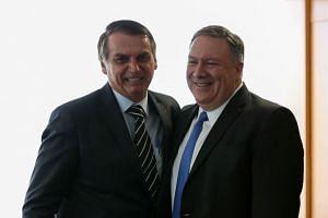 Pompeo attends a meeting with Brazil's President Jair Bolsonaro on Jan 2, 2019.