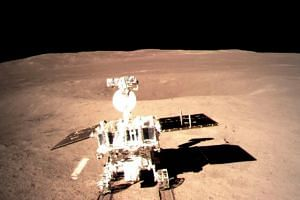 The Yutu-2 (Jade Rabbit-2) rover drove onto the moon's surface from the lander on Jan 3, 2019, about 12 hours after the ground-breaking touchdown of the Chang'e-4 probe.