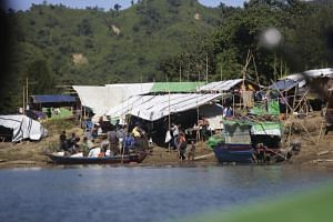 A temporary camp in Ponnagyun township, in northern Rakhine, Myanmar. Rakhine has seen a surge in violence in recent weeks between rebels from the Arakan Army and security forces, displacing thousands.
