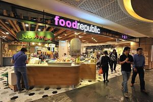 A Food Republic foodcourt at Shaw House. The chain's foodcourts boast a good mix of hawker and restaurant fare. RedRing Treasures' chicken cutlet and noodle set comes drenched in house-made spicy sauce.