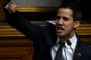 The new president of Venezuela's National Assembly Juan Guaido speaks during the inauguration ceremony in Caracas.