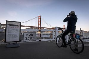 A sign indicating a national park closure due to the US government shutdown, at the entrance to Fort Point in the Golden Gate National Recreation Area in San Francisco, California, last week.