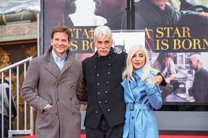 (From left) Bradley Cooper, Sam Elliott and Lady Gaga attend 74-year-old Elliott's hand and footprint ceremony at TCL Chinese Theatre on Jan 7, 2019.