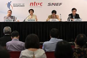 (From far left) Speaking at a dialogue session at the forum yesterday were Singapore National Employers Federation vice-president Alexander Melchers, Senior Parliamentary Secretary for Manpower Low Yen Ling, Nominated MP Walter Theseira, who chaired