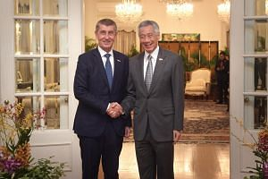 Czech Republic Prime Minister Andrej Babis calls on Prime Minister Lee Hsien Loong at the Istana on Jan 14, 2019.