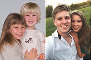 "Australian siblings Robert and Bindi Irwin, the children of ""Crocodile Hunter"" Steve Irwin. The 10-Year Challenge involves people sharing a photo of themselves from 10 years ago next to a photo from this year."