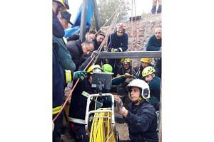 Rescue teams working at the borehole where two-year-old boy Julen fell into, at the town of Totalan in Malaga, Spain, on Jan 15, 2019.