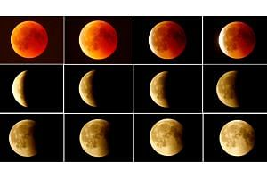 The lunar eclipse from a blood moon (top left) back to full moon (bottom right) in the sky over Frankfurt, Germany, on July 27, 2018.