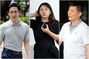 (From left) Charles Loo Boon Ann, Priscilla Tien Ling and Mike Chew Jun Yong were charged on Jan 22 with cheating.