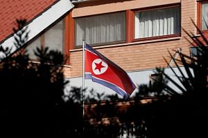 The flag of North Korea flutters in front of its embassy in Rome, Italy, on Jan 3, 2019.