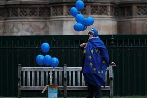 An anti-Brexit activist demonstrates outside of the Houses of Parliament in central London on Jan 21, 2019.