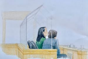 A courtroom sketch of Ms Meng Wanzhou (left), Huawei's chief financial officer, next to her translator in the courtroom in Vancouver, British Columbia on Dec 10, 2018.