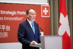 Chinese Vice-President Wang Qishan delivering a speech during the first Sino-Swiss high-level platform meeting in Zurich, Switzerland, on Jan 21, 2019.