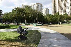 A stroller is seen in a park in Sunny Isles Beach, Florida, on Jan 13, 2019.