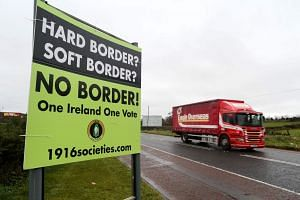 A sign calling for no border to be imposed between Ireland and Northern Ireland outside Newry, Northern Ireland, on Nov 14, 2018.