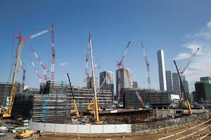 A file photo shows the Olympic Village under construction for the upcoming Tokyo 2020 Olympic Games in Tokyo, Japan on Sept 5, 2018.