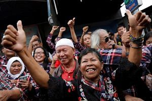 Supporters of Mr Basuki Tjahaja Purnama celebrating his release from prison on Thursday. While the former Jakarta governor is expected to take some time off from the limelight to enjoy his new-found freedom and budding romance, an eventual return to