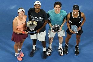 From left: Mixed doubles champions Barbora Krejcikova and Rajeev Ram posing with runners-up John-Patrick Smith and Astra Sharma after winning the final 7-6 (7-3), 6-1 yesterday.