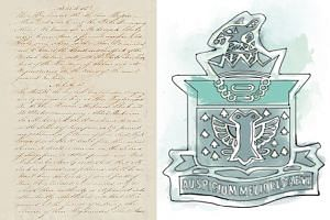The Treaty of Friendship and Alliance from the 1820s (left) and the Raffles Institution school badge from the 1830s.