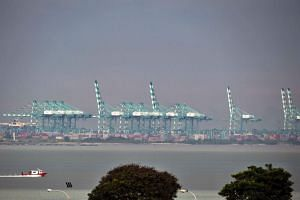 The view from Tuas across the Strait of Johor towards the Johor Baru port.