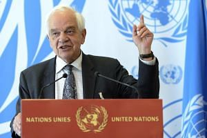 John McCallum, Canada's Minister of Immigration, Refugees and Citizenship, at a press conference at the United Nations in Geneva, Switzerland, on March 30, 2016.