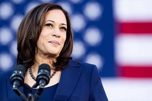 California Senator Kamala Harris at a rally launching her presidential campaign in Oakland, California, on Jan 27, 2019.