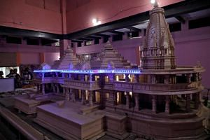 A model of a proposed Ram temple that Hindu groups want to build at a disputed religious site in Ayodhya in the northern state of Uttar Pradesh, India, on Nov 9, 2018.