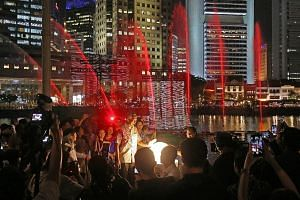 Prime Minister Lee Hsien Loong at the launch of the Singapore Bicentennial at the Singapore River on Monday.
