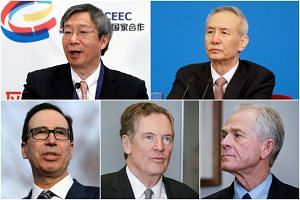 (Clockwise from top left) Mr Yi Gang, Mr Liu He, Mr Peter Navarro, Mr Robert Lighthizer and Mr Steve Mnuchin will be at the next round of US-China trade talks.