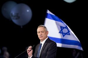 Benny Gantz speaking during the presentation of his election campaign, in Tel Aviv.