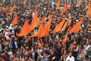 Indian Hindu hardliners participate in a rally calling for the construction of a temple on the site of the demolished 16th century Babri mosque, located in Ayodhya, in New Delhi on Dec 9, 2018.