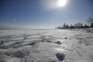 Ice and snow builds up along Lake Michigan in Chicago, Illinois, on Jan 30, 2019.