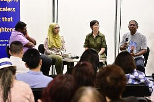 (From left) Pave social workers Saravanan Krishnan, Adisti Jalani and Soh Siew Fong, and former ST deputy editor Alan John discussed helping people deal with domestic violence and counselling abusers.