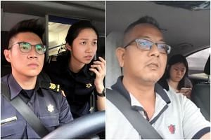 In a Facebook post, SCDF posted a photo of two officers in a position similar to that of the Gojek driver, Mr Kamaruzzaman Abdul Latiff, and his passenger.