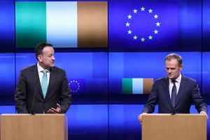 EU Council President Donald Tusk (right) and Irish Prime Minister Leo Varadkar give statements after a meeting at the European Council headquarters in Brussels, Belgium, on Feb 6, 2019.