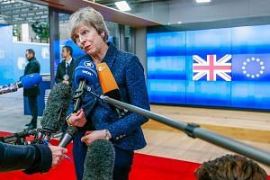 British Prime Minister Theresa May speaking to the press after a meeting with European Council president Donald Tusk in Brussels on Thursday. Visiting Brussels in a last-ditch bid to extract EU concessions, Mrs May returned empty-handed after admitti