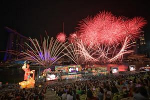 Visitors enjoying the fireworks at the River Hongbao on Feb 10, 2019.