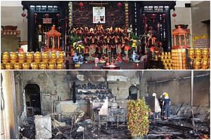 In a Facebook post, the temple juxtaposed photos of its prayer altar before (top) and after the fire which caused more than $300,000 in estimated damage.