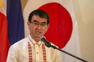 Japanese Foreign Minister Taro Kono cautioned South Korean National Assembly Speaker Moon Hee-sang against making divisive remarks.