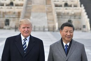 US President Donald Trump and Chinese President Xi Jinping at the Forbidden City in Beijing, on Nov 8, 2017.