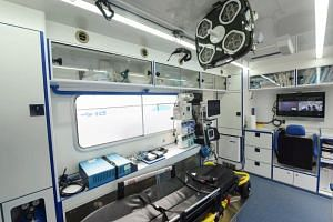 The interior of an ambulance with 5G technology, displayed at a 5G innovation park in Hangzhou, Zhejiang on Jan 20, 2019.