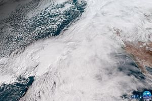 The storm approaching California, as seen from environmental satellites at 10am California time.