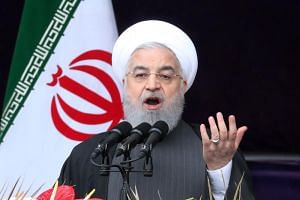 Iranian President Hassan Rouhani delivers a speech at the Azadi square in Teheran, Iran, on Feb 11, 2019.