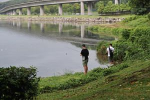 Two men fishing at Lower Seletar Reservoir, on Aug 22, 2018. PUB officers said they are hunting a crocodile that was spotted in the area on Feb 14, 2019.
