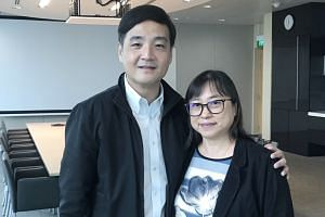 NTUC deputy secretary-general Heng Chee How with caregiver Koh Leh Choo, 61, works as a part-time homecare nurse at NTUC Health.