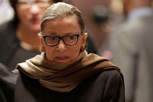 Ginsburg (above) had been working from home since her December surgery.