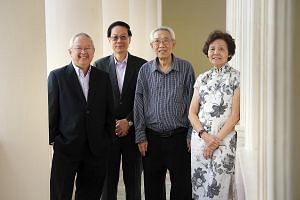 Former Hwa Chong principals (from left) Hon Chiew Weng, Ang Wee Hiong, Tooh Fee San and Leong Fan Chin. The school launched a publication yesterday to recognise its past and present educators.