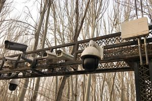Security cameras are seen installed at the entrance of the Id Kah Mosque in Kashgar, Xinjiang Uighur Autonomous Region, on Jan 4, 2019.